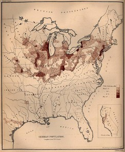 German population density in the United States, 1872