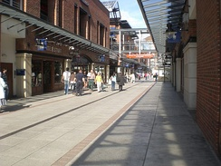 A view of some shops in the Gunwharf Quays shopping centre.