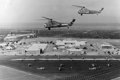 H-19 and H-34 helicopters of HT-8 over NAS Ellyson Field in 1967.