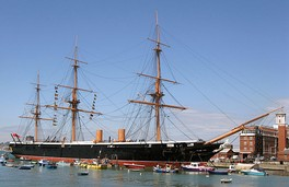 HMS Warrior, the first iron-hulled armoured steam frigate – the hull survived as an oil terminal dock and was restored to its original appearance in the late 20th century