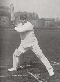 A cricketer about to hit a ball