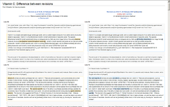 Differences between versions of an article are highlighted
