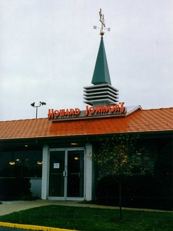 Howard Johnsons restaurant entrance with emblematic weathervane.