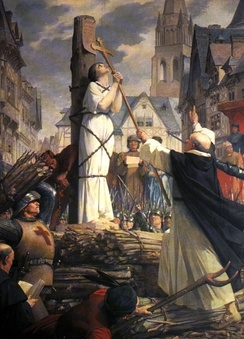 Joan of Arc burning at the stake in the city of Rouen, painting by Jules Eugène Lenepveu
