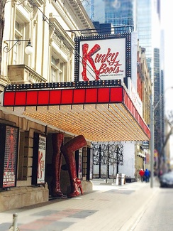 Kinky Boots the Musical at the Royal Alexandra Theatre, Toronto, Canada June 2015 to May 2016.