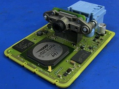 The PCB and camera sensor from a Hyundai Lane Guidance camera module.