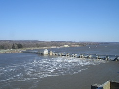 Starved Rock Lock and Dam facility viewed from The Rock.