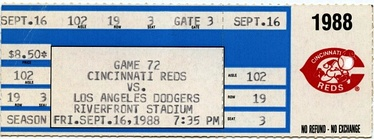 A ticket from Browning's perfect game.