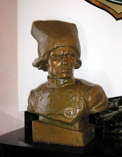 Bust of Nestor Makhno in the Huliaipole museum