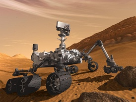 Artist's concept of Curiosity, an example of an uncrewed land-based vehicle. Notice the stereo camera mounted on top of the rover.