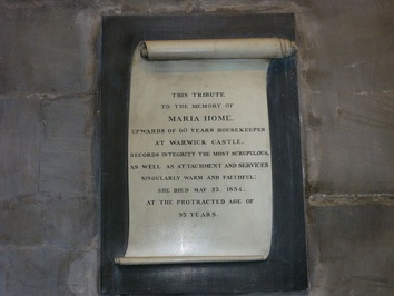 Memorial valuing the work of Maria Home, the servant in Warwick Castle (1834)