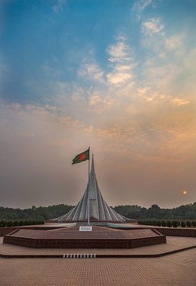 National Martyr's Memorial in Dhaka, built on memories of the martyrs of Bangladesh Liberation War.