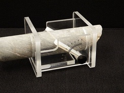 An oriented core goniometer, commonly used when analyzing cores for contacts and other structural features