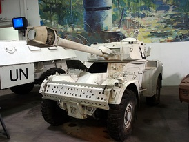 Peacekeepers' Panhard armoured car in the Musée des Blindés, Saumur, France. These vehicles have served with the UN since the inception of UNFICYP.