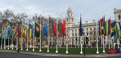 Flags of the members of the Commonwealth in Parliament Square, London