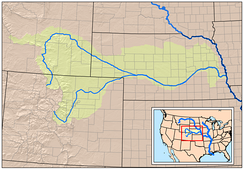 Map showing the Platte River watershed, including the North Platte and South Platte tributaries