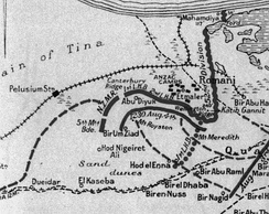 Detail of Romani map showing defences
