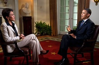 President Barack Obama interviewed by Robin Roberts of ABC's Good Morning America, at the White House, May 9, 2012.