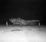 "Martin Baltimore Mk V, 'FW332' 'R' ""Redwing"", of No. 13 Squadron RAF, taxies out for a night sortie over the Gothic Line at Cecina, Italy during the Second World War."