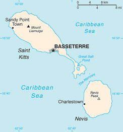 A map of Saint Kitts and Nevis