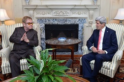 John and US Secretary of State John Kerry discuss AIDS Relief and the work of the Elton John AIDS Foundation at the US Department of State in Washington, D.C., 24 October 2014
