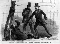 A Harper's Weekly depiction of Sickles shooting Key