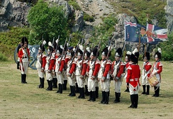 Reenactors dressed in 1795 Grenadier uniform at Signal Hill