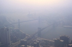 Smog in New York City as viewed from the World Trade Center in 1988
