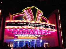 The neon theatre marquee inside of the 1930s-era Hollywood soundstage at the beginning of the ride.