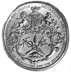 The Great Seal of the Island of Vancouver and its Dependencies was designed by Benjamin Wyon, Chief Engraver of Her Majesty's Seals, c1849.  The symbolic badge he designed was the basis for the flag of Vancouver Island, which is still unofficially flown today.[20]