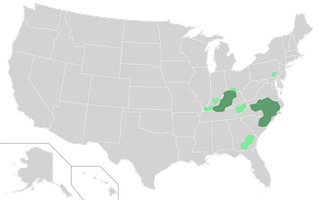 Map of primary areas of Tobacco production in the U.S., with the areas of greater production in dark green and those of lesser production in light green.[17]