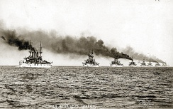 The Great White Fleet demonstrating U.S. naval power in 1907; it was proof that the U.S. Navy had blue-water capability.