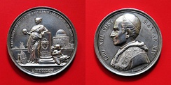 Silver medal celebrating the 1891 Pope Leo XIII's inauguration of the new observatory