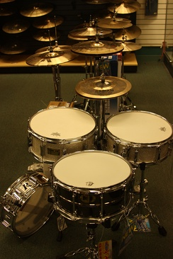 Foreground: Snare drums. Midground: Hi-hat cymbals. Background: Ride/Crash cymbals