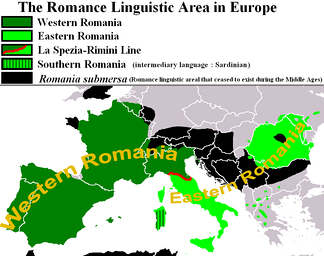 Eastern and Western Romance areas split by the La Spezia–Rimini Line