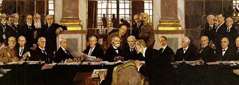 Detail from William Orpen's painting The Signing of Peace in the Hall of Mirrors, Versailles, 28 June 1919, showing the signing of the peace treaty by a minor German official opposite to the representatives of the winning powers.