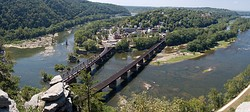 Panoramic view of Harpers Ferry from Maryland Heights, with the Shenandoah (left) and Potomac (right) rivers.