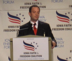 RNC chairman Reince Priebus speaks at the Iowa Faith & Freedom Coalition Fall Presidential Forum