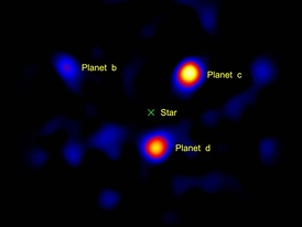 Direct image of exoplanets around the star HR8799 using a Vortex coronagraph on a 1.5m portion of the Hale telescope