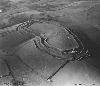Maiden Castle in England is one of the largest hillforts in Europe.[1][2] Photograph taken in 1935 by Major George Allen (1891–1940).