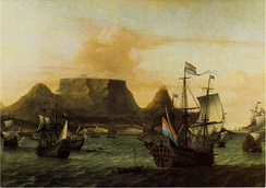 View of Table Bay with ships of the Dutch East India Company (VOC), c. 1683.