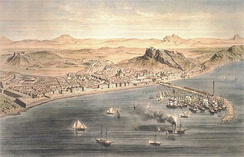 Alicante around year 1832. Engraving by Alfred Guesdon