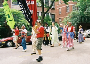 Hyde Park 2006 Independence Day parade (left to right starting at center in light green): Preckwinkle as the Statue of Liberty, Illinois State Representative Barbara Flynn Currie as Uncle Sam, and Chicago City Council Alderman Leslie Hairston as Betsy Ross
