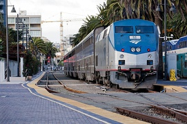 A Pacific Surfliner train hauled by a P42DC locomotive in 2012