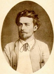 Portrait of young Chekhov in country clothes