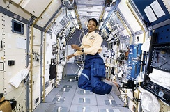 Mae Jemison working in Spacelab in 1992. Spacelab was a major NASA collaboration with Europe's space agencies