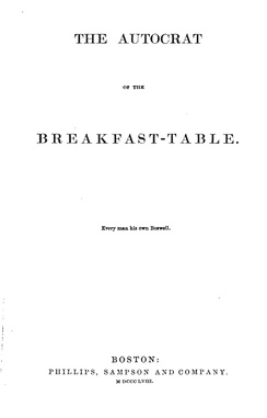 1858 facsimile of Autocrat of the Breakfast-Table