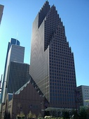 The Bank of America Center by Philip Johnson is an example of postmodern architecture.