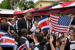 Barack Obama and Laura Chinchilla with Costa Rican children in San José