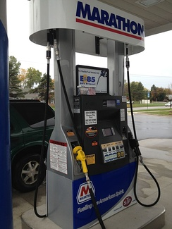 Blender fuel pump in East Lansing, Michigan selling E15 together with the standard gasoline (E10), and the higher blends E30 and E85.